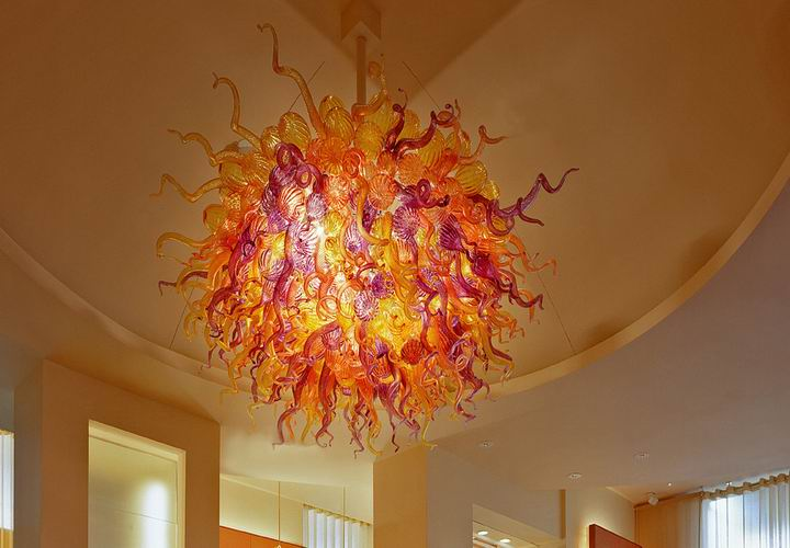 fire orange red decorative art blown glass chandelier colorful led ceiling lamp for sale - Blown Glass Chandelier