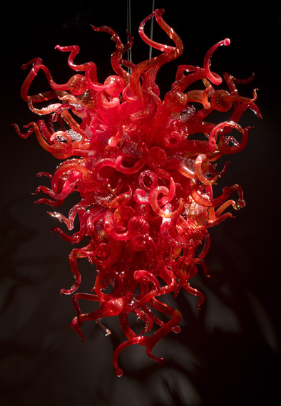 enthusiasm red modern decorative mouth-blown art glass chandelier