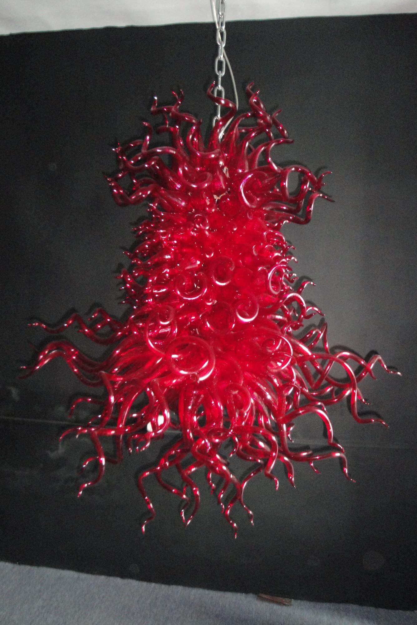 Of customized selling various places modern Red bright blown glass chandeliers ceiling lamp
