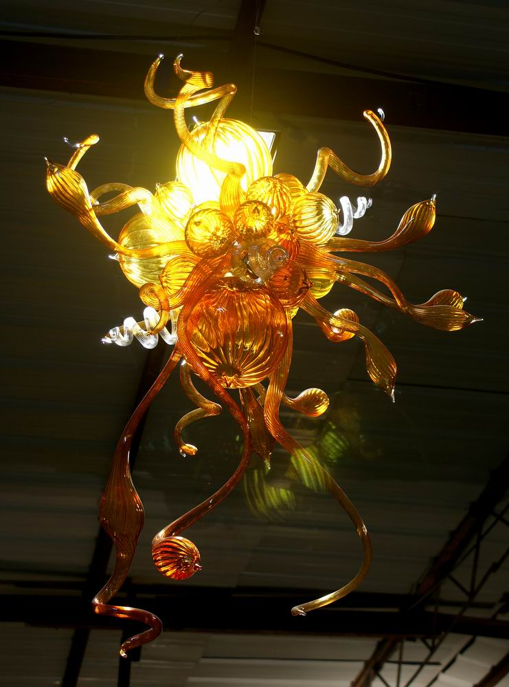 Customized warm amber blown art glass chandelier lamp