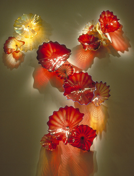 The wonderful fabulous high quality hand blown glass Maple Leaf Art Wall