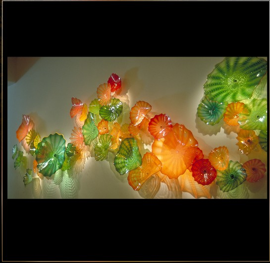Hotel Hall Art Multi-Colored Hand Blown Glass Craft Artwork for Walls Ornaments Plates & Glass Wall Art :