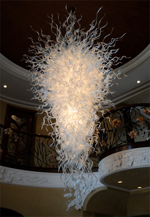 Simple white 100% hand blown glass art Chandelier lighting